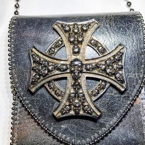 Vintage Leatherrock Skull Biker Leather Crossbody
